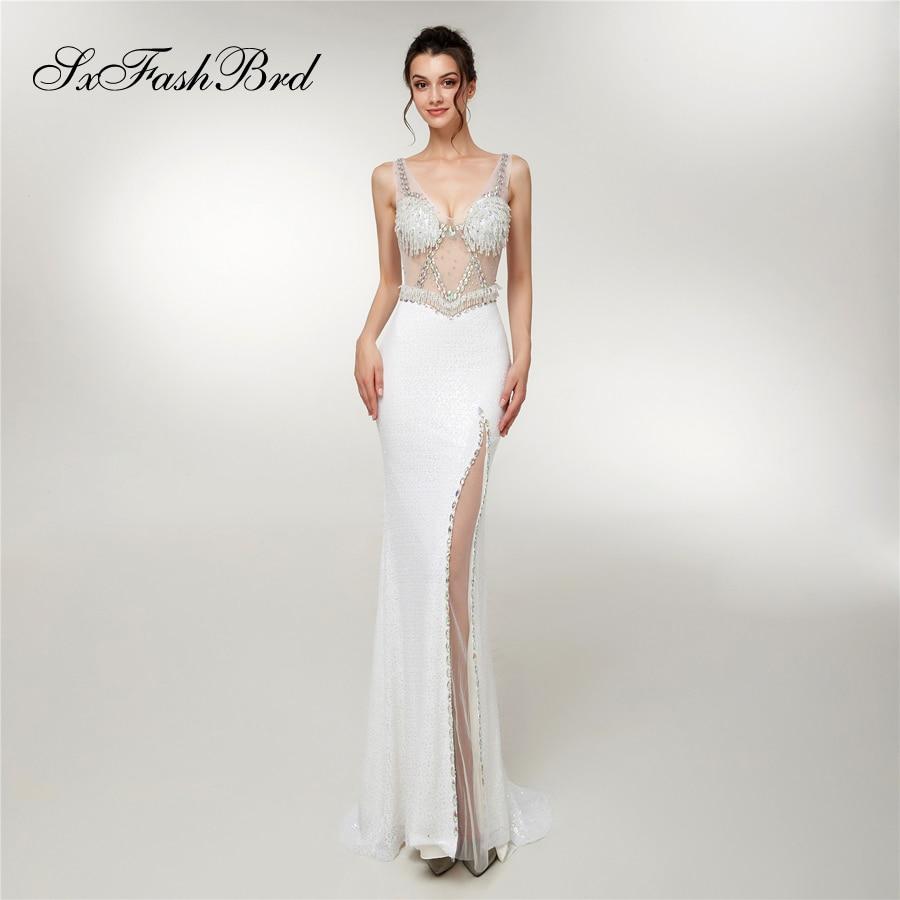 Lange Jurken V Neck With Bling Crystals Mermaid Elegant Long Formal Women Evening Dresses Party Prom Robe Longue