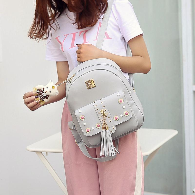 Backpack Female 3 Piece Combination Composite Bag Bear Hanging Inlaid Imitation Diamond Tassel Fashion Casual Shoulder Bag 62