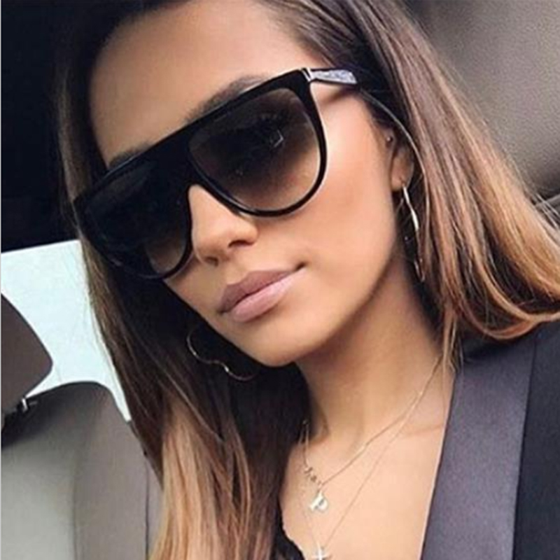 POLYREAL New Fashion Oversized Square Sunglasses Women Designer Brand Big One Lens Sun Glasses Female Transparent Frame