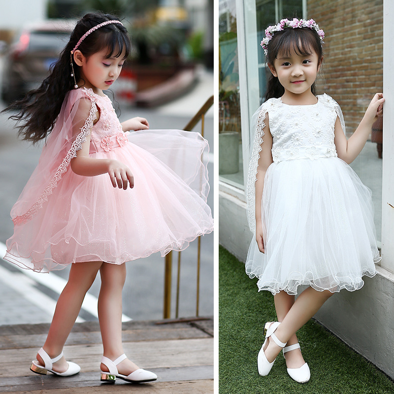 Children's clothes new 2017 summer white pink girls party dress teen girl fresh gauze shawl dresses 4-6-8-10-12-13 years 2016 new brand girl dress summer black polka dots children s girls dress wedding party baby clothes for teen girl 4 to 10 years