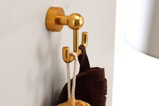 luxury high-class bathroom towel hook towel holder bathroom accessories hotel supplies brush golden aluminum