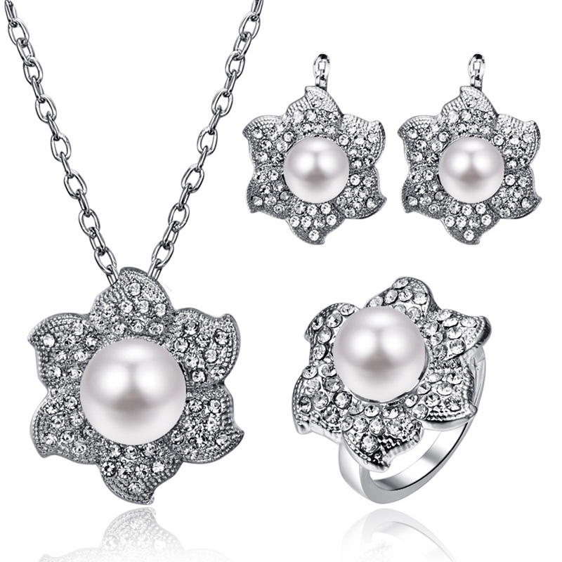 808 STORE Italy Fashion High Quality Pearl Necklace Earring for Women Charm Bridal Wedding Crystal Ring Silver  Jewelry Sets