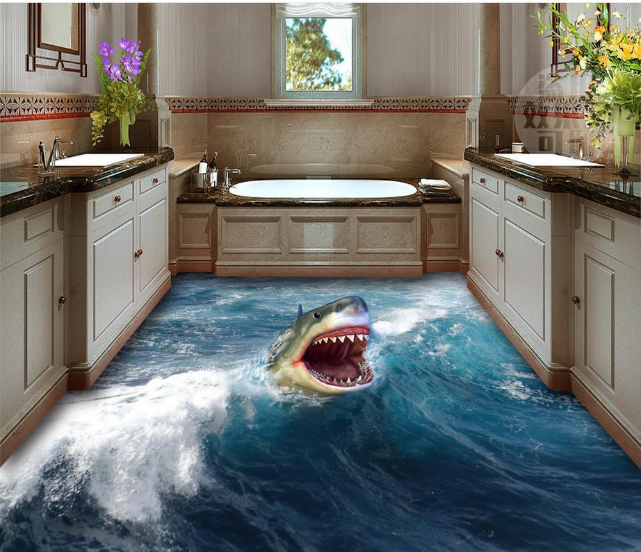 3d bathroom wallpaper waterproof 3D shark flooring Home Decoration waterproof wallpaper for