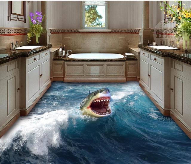 3d Bathroom Wallpaper Waterproof 3D Shark Flooring Home Decoration For Wall