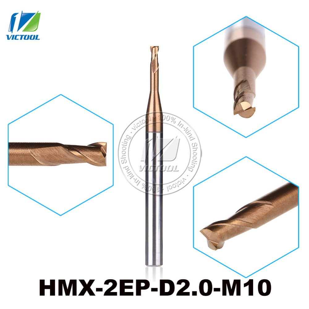 2PCS/Lot HMX-2EP-D2.0-M10 2-Flute Flattened End Mills Cutter End Mills Straight Shank Long Neck And Short Cutting Edge Tools zcc ct hm hmx 2efp d12 0 solid carbide 2 flute flattened end mills with long straight shank and short cutting edge