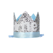 One Year Old Glitter Hat Twinkle Little Star Crown Kids First Birthday Party Hat 1st Cake Glitter Crown Boys Party Silver Blue