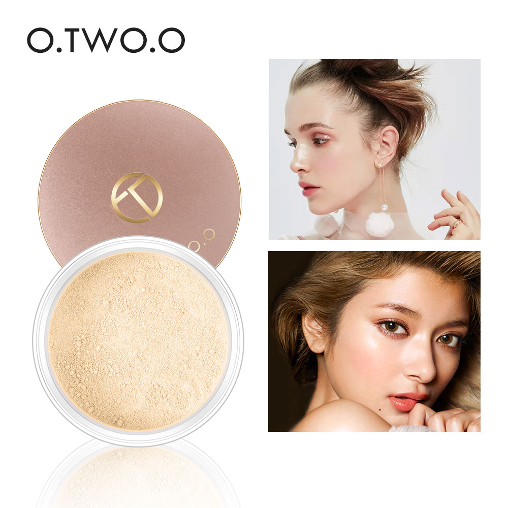 O.TWO.O Smooth Matte Loose Powder Makeup Transparent Finishing Powder Waterproof For Face Finish Setting With Cosmetic Puff