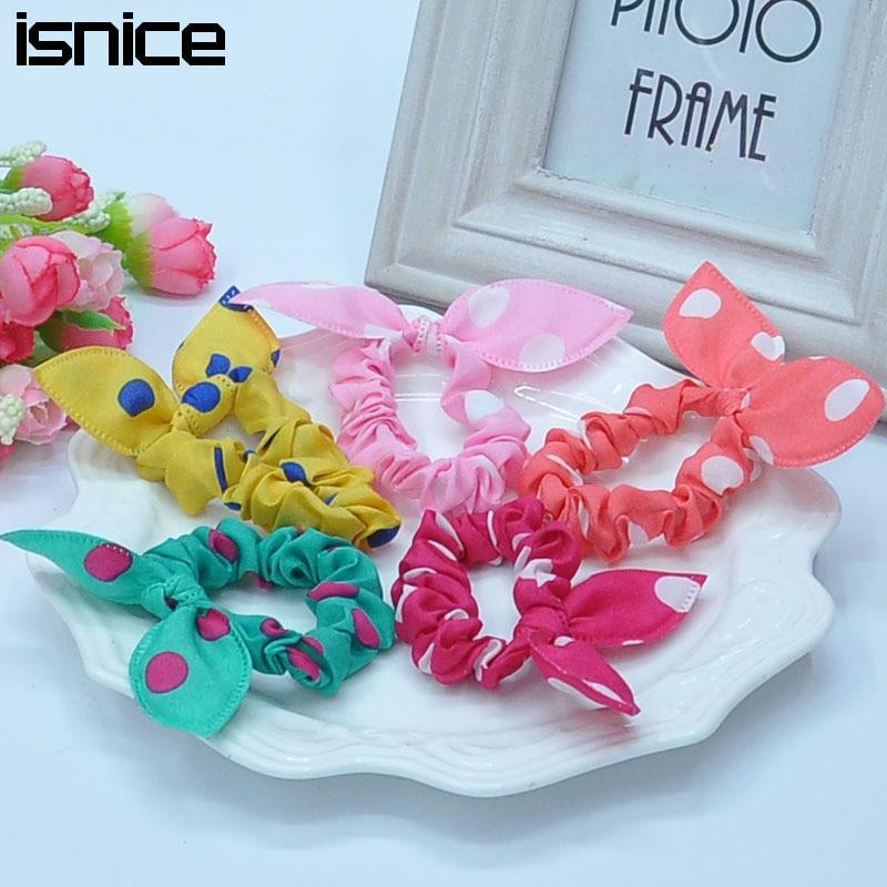 16pcs Cute bunny ears dot chiffon headwear elastic rubber band Baby girl flower headbands kids hair accessoriy pop ornaments