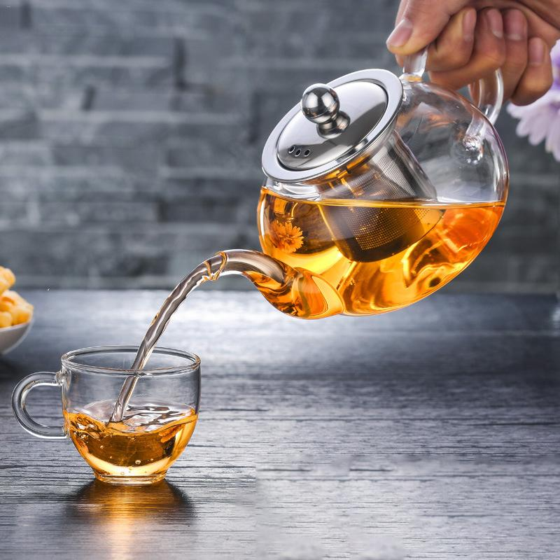 1SET Thickened Heat-resistant Glass Teapot Portable High Borosilicate Glass Filter Teapot Heating Coffee TeaPot Set