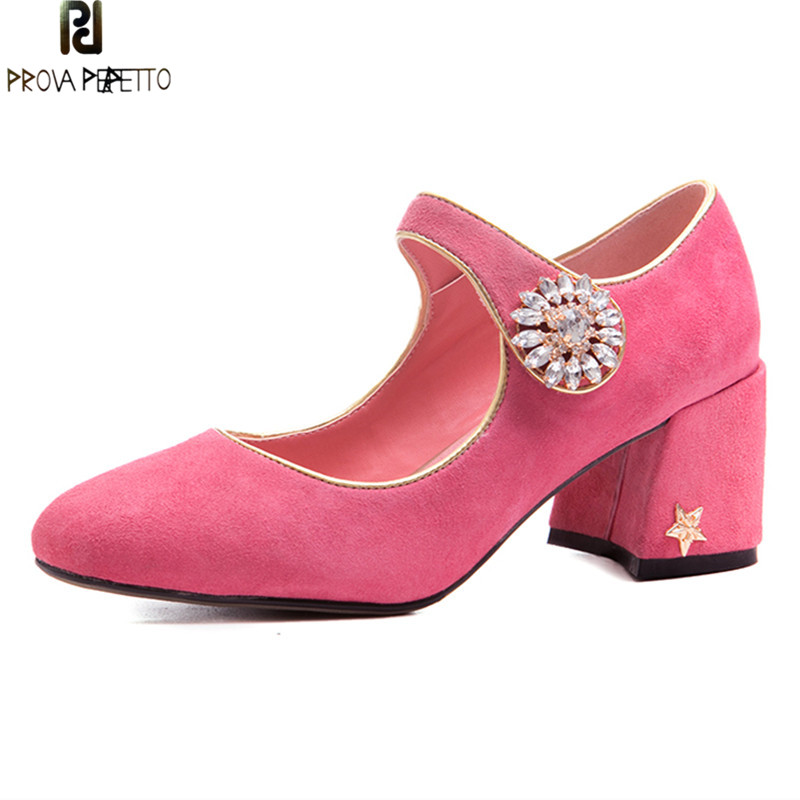 Prova Perfetto Top Quality Wedding Shoes Woman Kid Suede Square Toe Ladies Shoes Rhinestone Pink High Heels Pumps Party Shoes prova perfetto new women pumps high heels rhinestone flower wedding shoes woman sexy high heels party shoes sweet princess shoes