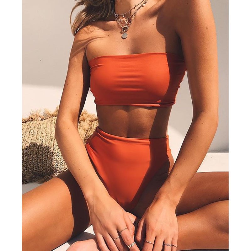 High Leg Bandeau Bikini Set Swimwear Female Two Pieces Swimsuit High Waist Bikini Women Bathing Suit Biquini(China)