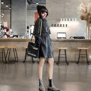 Image 5 - 2020 wiosna projektant elastyczna talia kożuch oryginalne prawdziwe skórzane długie kurtki kobiety dorywczo z długim rękawem kurtki skórzane Streetwear