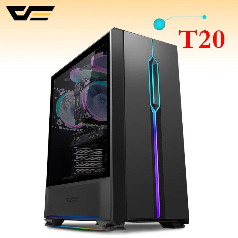 DarkFlash T20 PC coque d'ordinateur ATX/Micro ATX RGB bande de lumière transparente côté maison bureau noir châssis de coque d'ordinateur de jeu