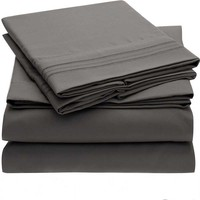 Hot North American foreign trade solid four piece fitted,flat sheet+fitted sheet+pillowcase, superfine fiber cloth