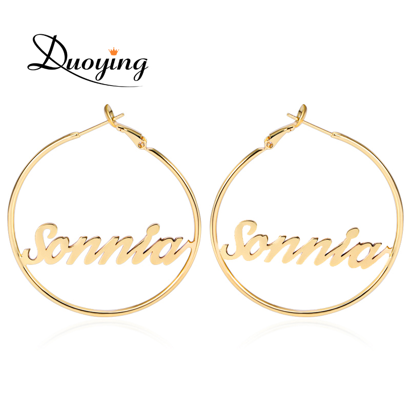 Duoying Circle Name Earrings 45 mm Hoop Earrings for Etsy Celebrity Style Round Personalized Custom Name Earring for Women Gifts duoying 40 4 mm bar bracelets rope custom name bracelet personalize string bracelet friendship family bracelets jewelry for etsy