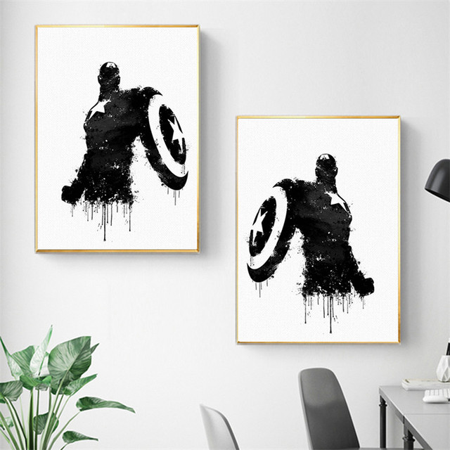 Marvel super hero captain america black and white wall art canvas painting posters and prints wall