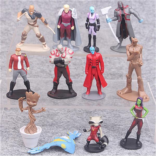 12pcs/lot PVC Guardians of the Galaxy 2 Action Figure Toy, Star Lord Baby Tree Figures Model, Kids Toys, Anime Brinquedos Gift 2016 new arrival the guardians galaxy mini dancing tree man action figure model toy doll