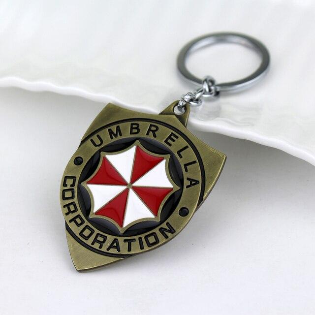 Resident Evil Umbrella Corporation Logo Keychain Metal Pendant