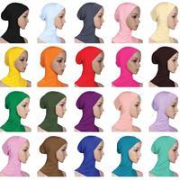 12PCS Women Ninja Head Cover Bonnet Hat Underscarf Muslim Lady Cap Scarf Bonnet Under Scarf Amira Niquabs Arab Random Color