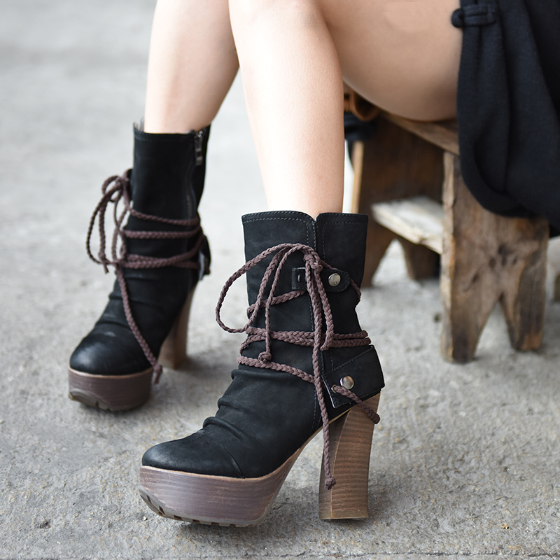 Artmu New Winter High Heels Women Boots Lace Up Cowhide Woman Shoes Genuine Leather Handmade Super 11 cm High Heels Fashion artmu fashion women sandals shoes hollow breathable handmade genuine leather shoes woman beach shoe soft bottom 2018 summer new