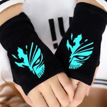 Отбеливать Ичиго Аллен Уокер перчатки половину палец пару зима мультфильм печати FGO Косплей теплые перчатки без пальцев Cospaly подарок