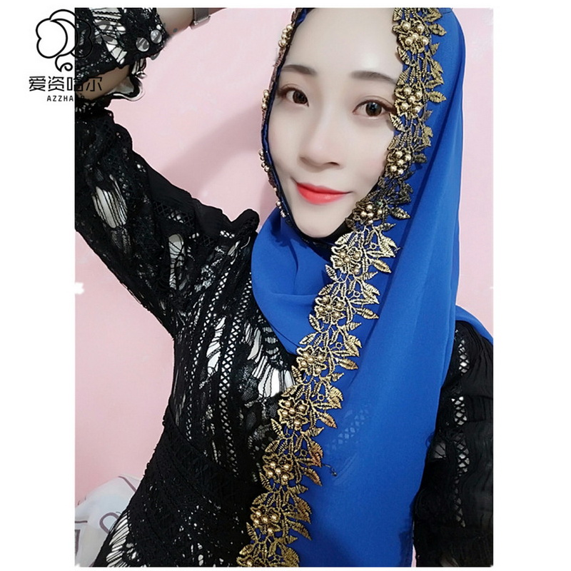 Novelty Woman Scarf Solid Color Rhinestone Pearl Shining Chiffon Silk Popular Shawls Scarf Headband Muslim Scarves Free Shipping in Islamic Clothing from Novelty Special Use