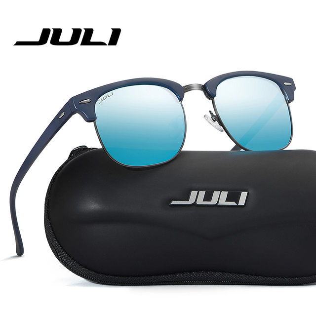 JULI Polarized Sunglasses Fashion Men Brand Designer Semi-Rimless Sun Glasses Rivet Eyewear For Male Female Unisex Ocluos De Sol