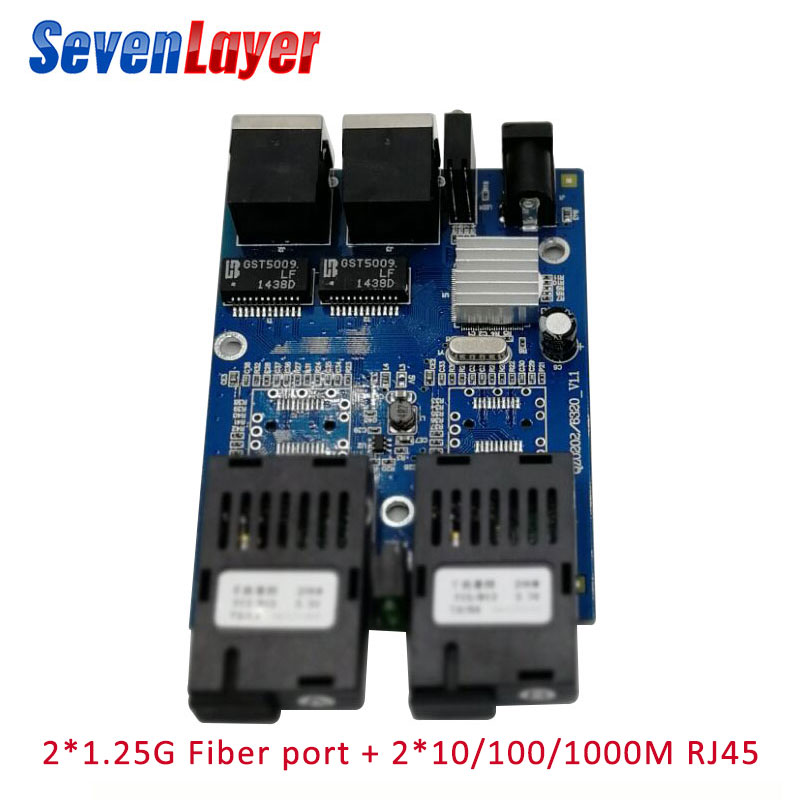 Ethernet Fiber Optical  2 SC Fiber Port  2 RJ45 2 UTP 10/100/1000M Media Converter Gigabit Ethernet Switch 2 RJ45 UTP Board PCB