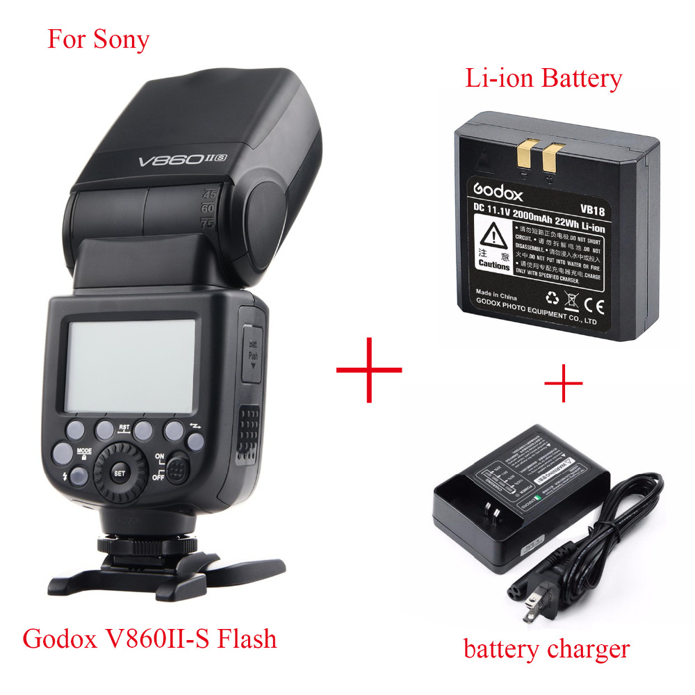 Godox Ving V860II V860II-S E-TTL HSS 1/8000 Li-ion Battery Speedlite Flash For Sony A7 A7S A7R A7RII A58 A99 A6000 MI Shoe DSLR in stock godox v860ii s v860iis ttl speedlite flash gn60 hss 1 8000s li ion battery x1t s ransmitter mi shoe optional for sony