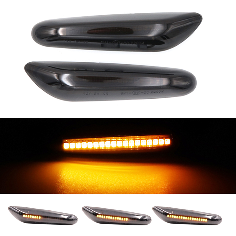 Pair Dynamic Flowing For E46 <font><b>E36</b></font> E90 E91 E60 E61 E81 Smoked Amber <font><b>LED</b></font> Side Marker Light For <font><b>BMW</b></font> E87 E88 E92 E93 X1 X3 E83 X5 image