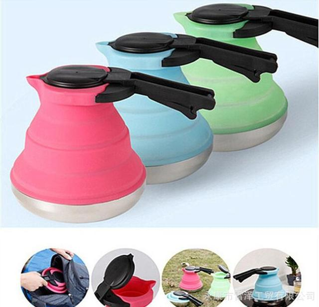 Wholesale 1.5L folding silicone teakettle Travel portable water kettle