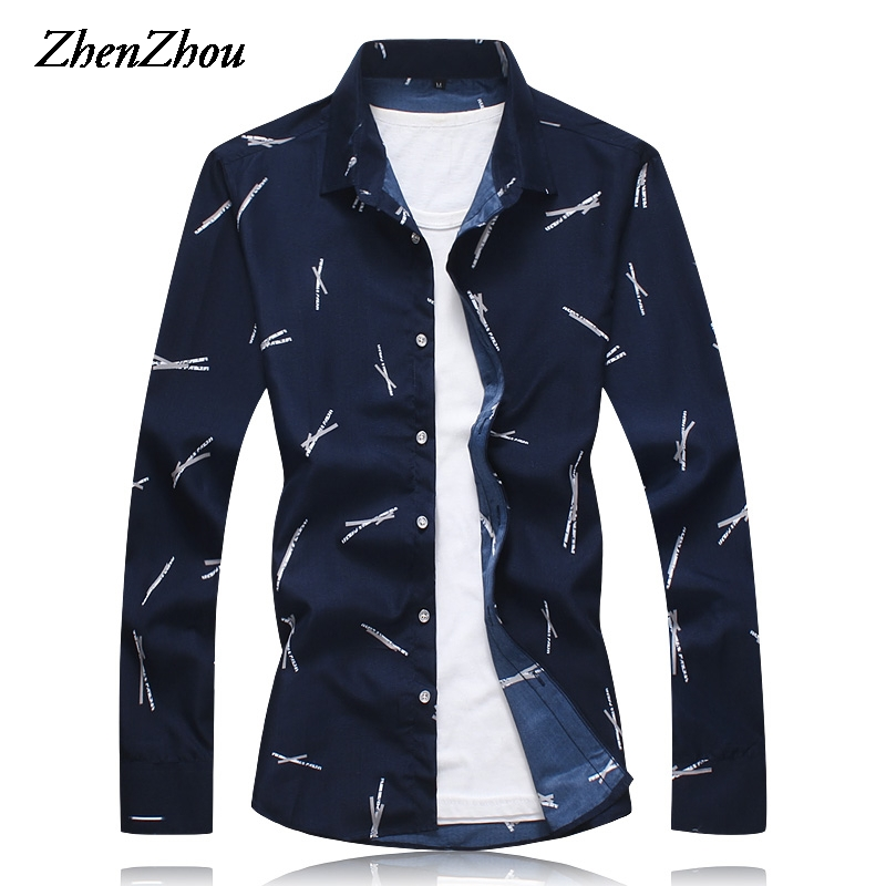 Autumn Dress Shirt Men Slim Fit Print Long Sleeve Men's Shirt Casual Social Shirt Male M-6XL 7XL Roupas Masculinas 2019