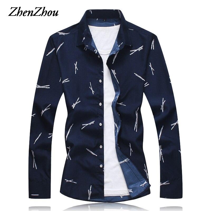 Autumn Dress Shirt Men Slim Fit Print Long Sleeve Men's Shirt Casual Social Shirt Male M-6XL 7XL Roupas Masculinas 2019