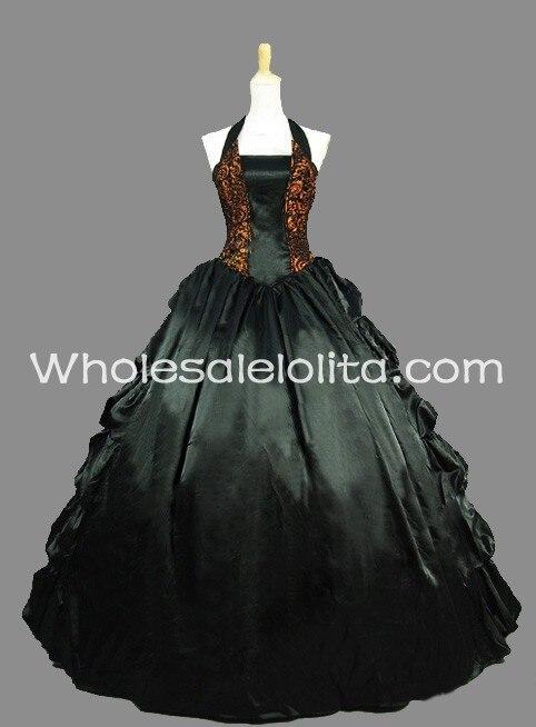 Готический Черный и Золотой Холтер Рукавов Victorian Inspired Dress Хэллоуин Бал-Маскарад Платье - Цвет: Черный