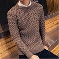 2016 de Moda Suéter de Los Hombres Suéter De Lana Merino Gradiente Suéter de la Marca Mens Homme Tirón Best Seller Cuello Redondo de Lana Suave tirón más de