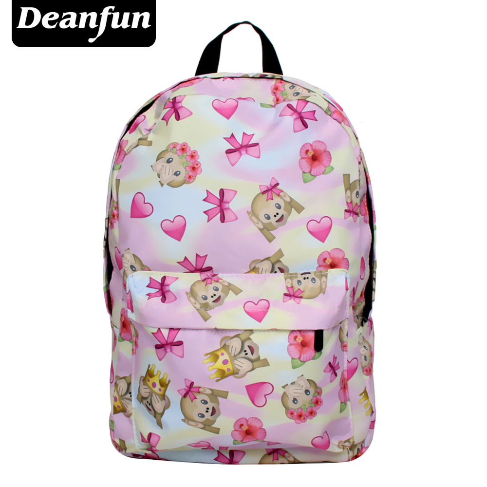 Deanfun Emoji Backpacks 3D Printed Monkey with Bowknot Funny Kawaii Schoolbags for Girls SB 16 горелка tbi sb 360 blackesg 3 м