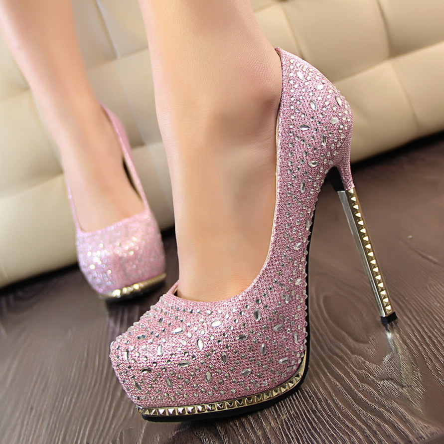 Prom Heels Wedding Shoes Women High Crystal Heel Woman Platforms Silver Rhinestone Platform Pumps Escarpins In S From On