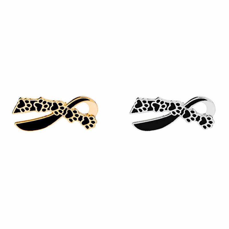 Fasion Paw Spilla Arco Sveglio Del Gatto Del Cane Artiglio Stampa Sciarpa Dello Smalto Spille Coppia Pet Memoriale Dei Monili di Amore del nodo Della Farfalla spilla regali di 2019