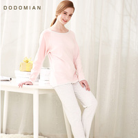 DO DO MIAN Round Neck Women Pajamas Set Loose Cotton Women SleepWear Pijamas Femal Home Wear