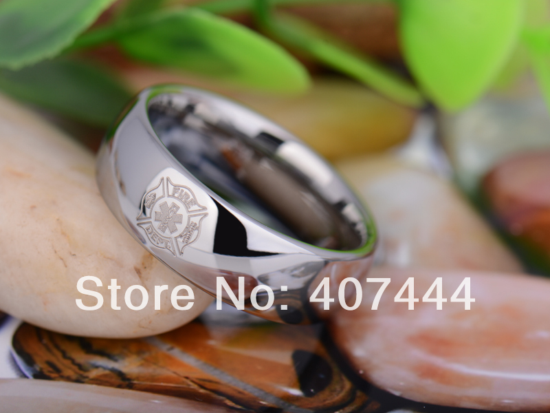 free shipping usa uk canada russia brazil hot sales 8mm one silver dome firefighter medical mens - Firefighter Wedding Rings