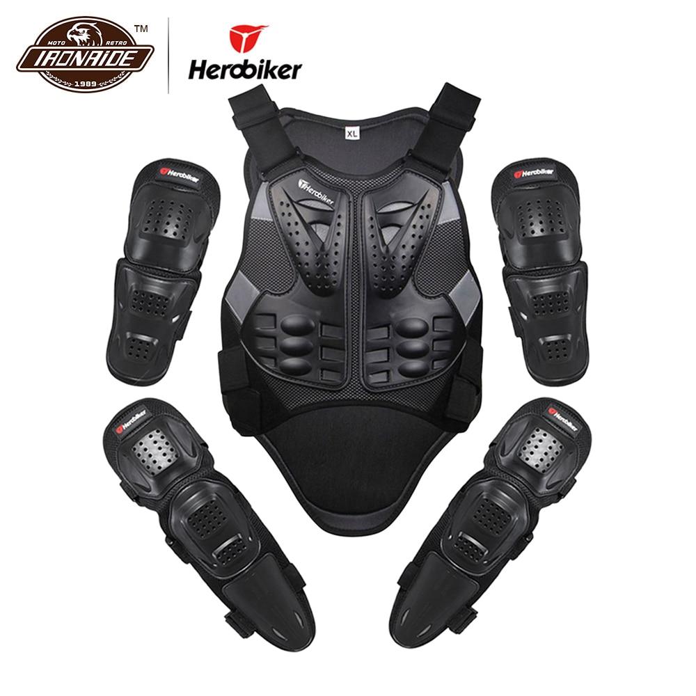 HEROBIKER Moto Jakcet Tuta Body Armatura Del Motociclo Gomito e Ginocchio Pastiglie Moto Protezioni Motocross Maglia Set Equipaggiamento Protettivo