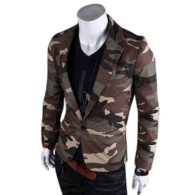 Stile Giacca Slim Primavera Fit Uomo Casual Mimetica Blazer Moda Ffxq1T