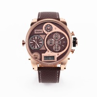 OULM Watches Male Clock 55mm 3 Time Casual Leather LCD Display Sports Quartz Design Fashion Mens Watch 9316B Brand