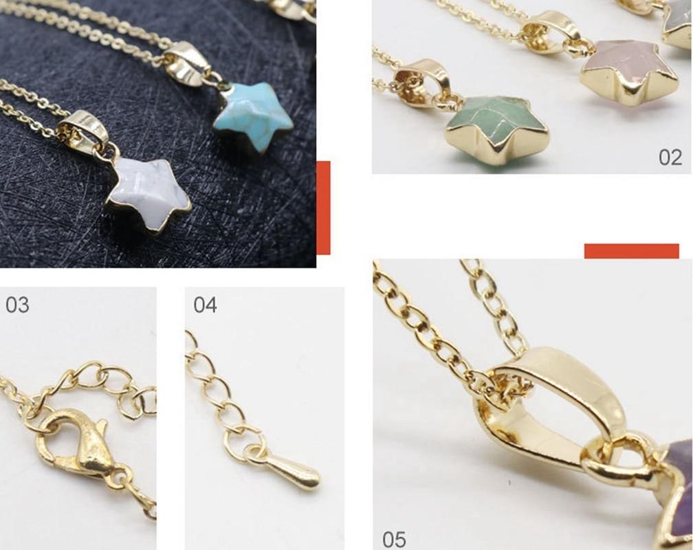ASHMITA 2019 Pentagram star pink Crystal Druzy Chakra Nature Stone Gold Plating Geode Quartz Pendant  Chain Necklace