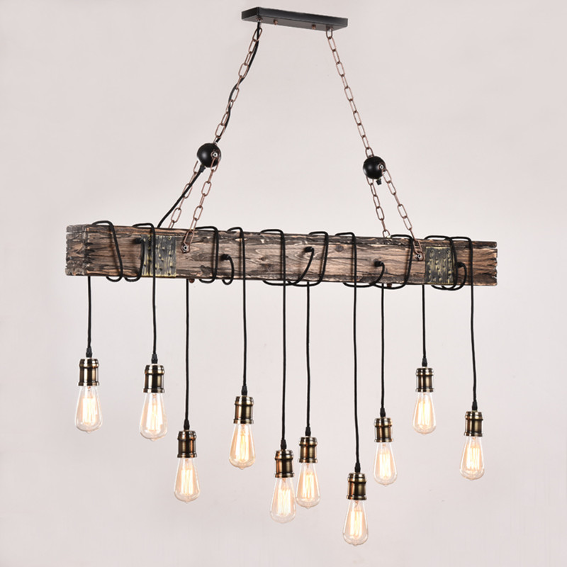 10 lamp loft  American industrial wind  solid wood  creative nostalgia chandelierEdison Bulb American Style For Living Room deco retro style living room lamp creative american country floor light solid wood floor lamp three foot