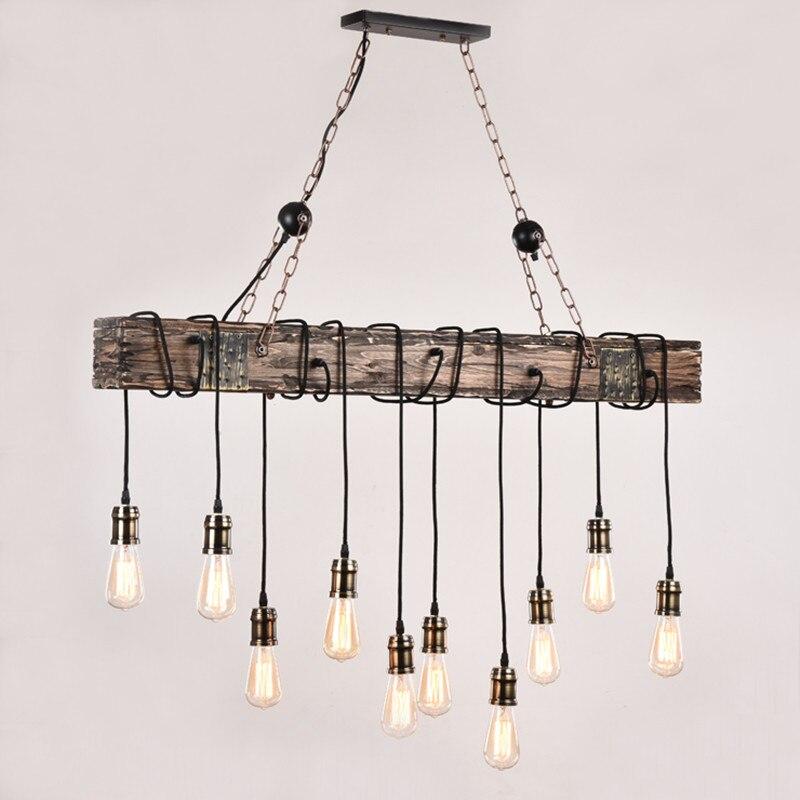10 lampe loft américain industriel vent bois massif créatif nostalgie chandelierEdison ampoule Style américain pour salon déco