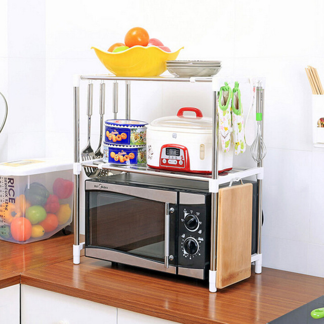 Adjustable Stainless Steel Multi Purpose Microwave Oven Shelf Rack Standing  Type Double Storage Holders For