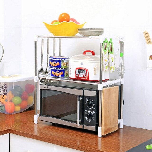 Ajustable de acero inoxidable multiusos horno microondas estante tipo doble  almacenamiento titulares para herramientas de cocina 15e808847532