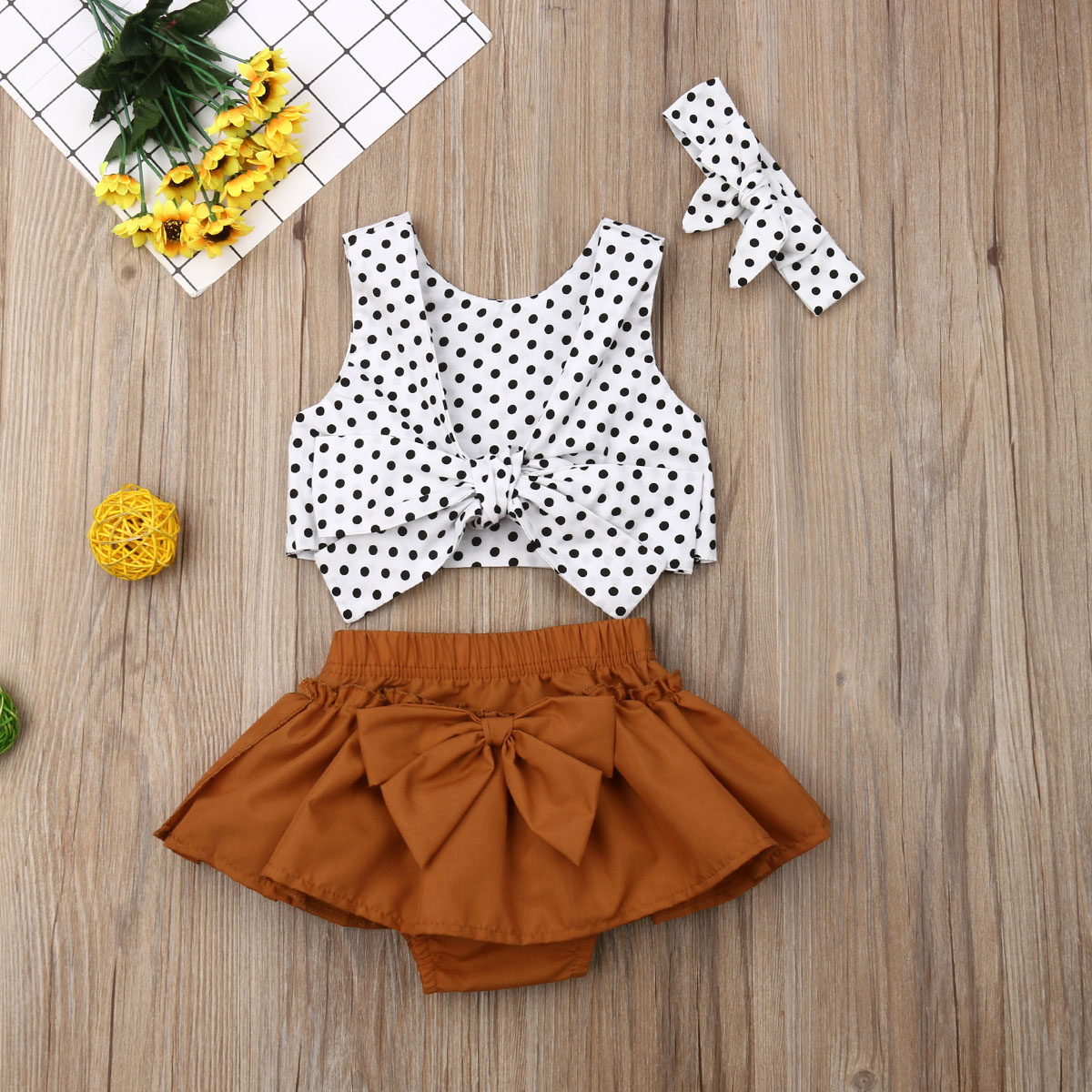 Newborn Infant Kid Girls Polka Dot Tops Headband Bow Knot Skirt 3PCS Clothes Oddler Kids Baby Girl Tube Tops