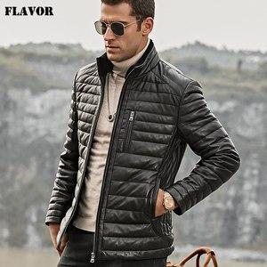 Image 2 - Blouson dhiver en cuir véritable, en duvet, pour hommes, avec col en fourrure de mouton permanent et amovible